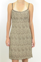 6p Nanette Lepore Petites Leopard Print Silk Slip Dress Ribbon Lace Trim... - $115.65 CAD