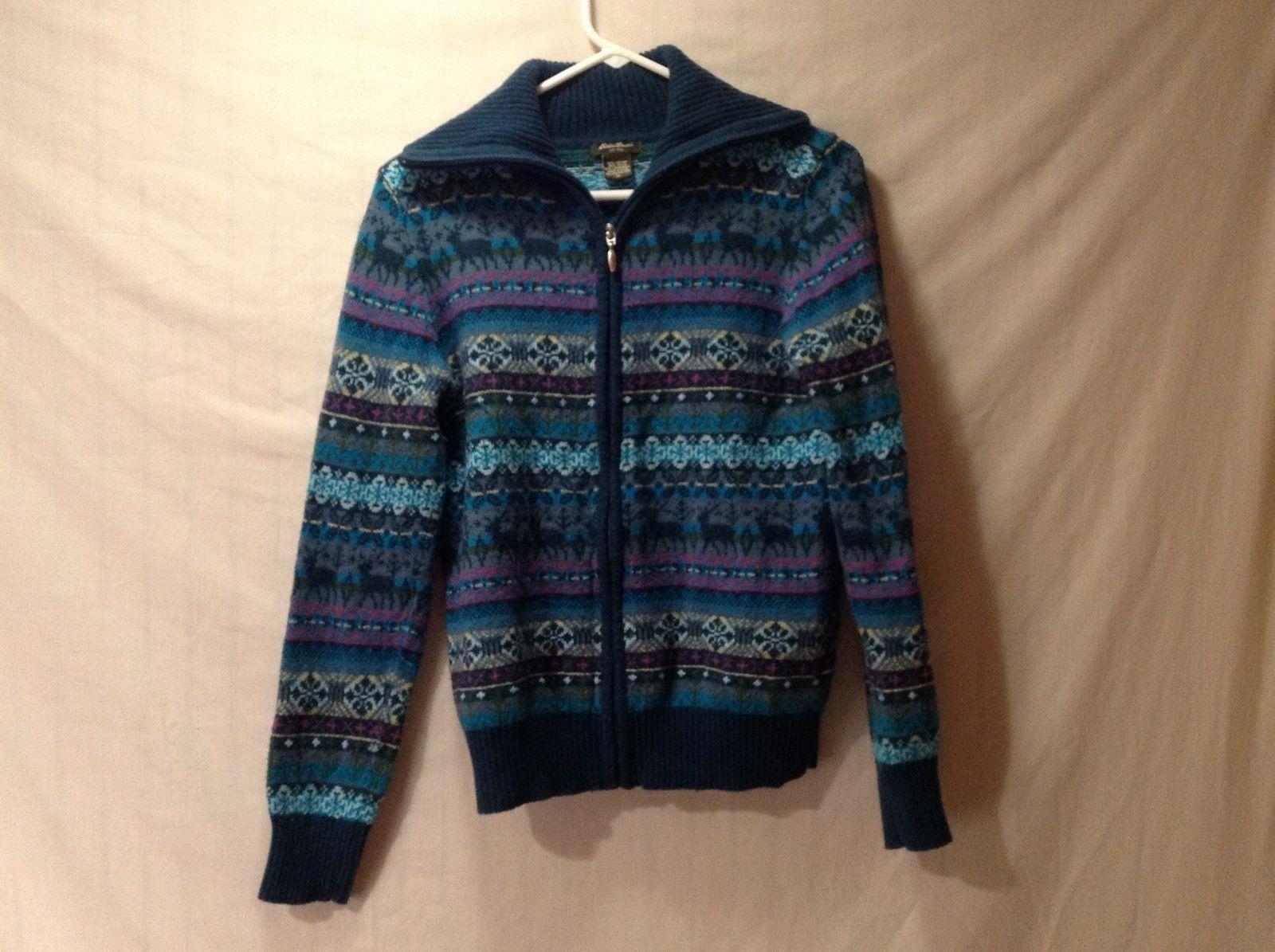 Women's Medium Eddie Bauer Teal Aqua Zip Up Sweater Cardigan