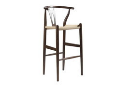 Baxton Studio Mid-Century Modern Wishbone Stool - Dark Brown Wood Y Stool - £245.50 GBP