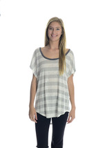 L Joie Maddie Slub Knit Gray White Striped Batw... - $99.30