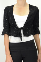 S Rebecca Taylor Black Angora Ballet Cardigan 3/4 Crop Sweater Silk Chif... - $75.72