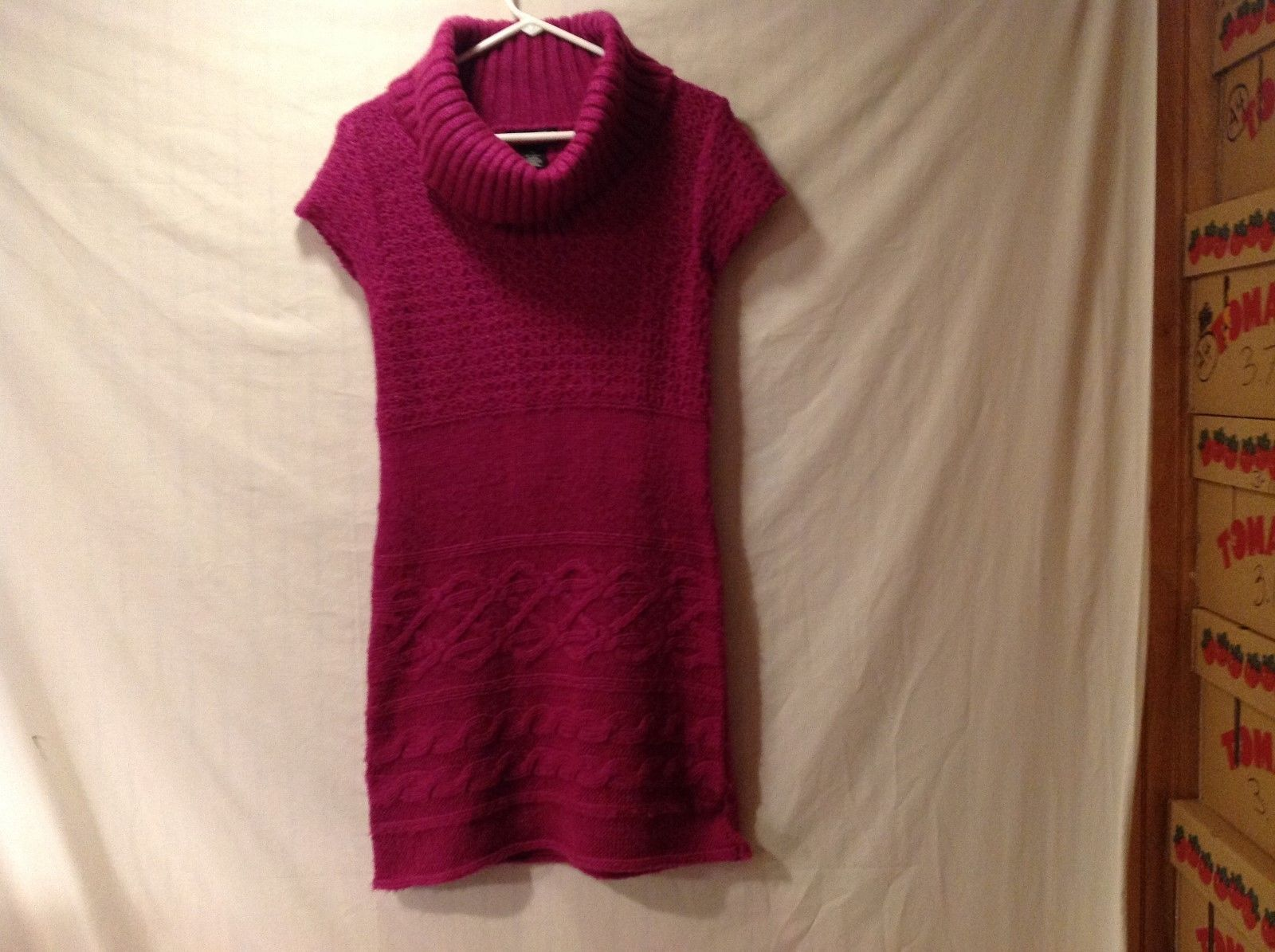 Women's Say What? XL Fuchsia Short Sleeve Turtleneck Sweater Dress
