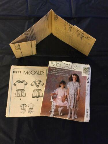 1989 McCall's Sewing Pattern P971 Girls SZ 6-8 Uncut