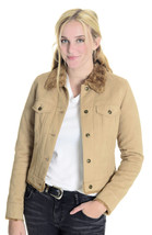 Size XS Halogen Camel Colored Faux Suede Faux Fur Lined Button Front Jacket - $33.65