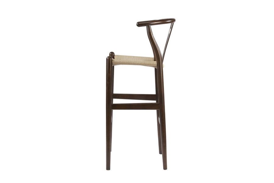 Baxton Studio Mid-Century Modern Wishbone Stool - Dark Brown Wood Y Stool