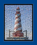 Lighthouse Mosaic (White Shoals) Print Art Designed Using Over 200 Light... - $20.00