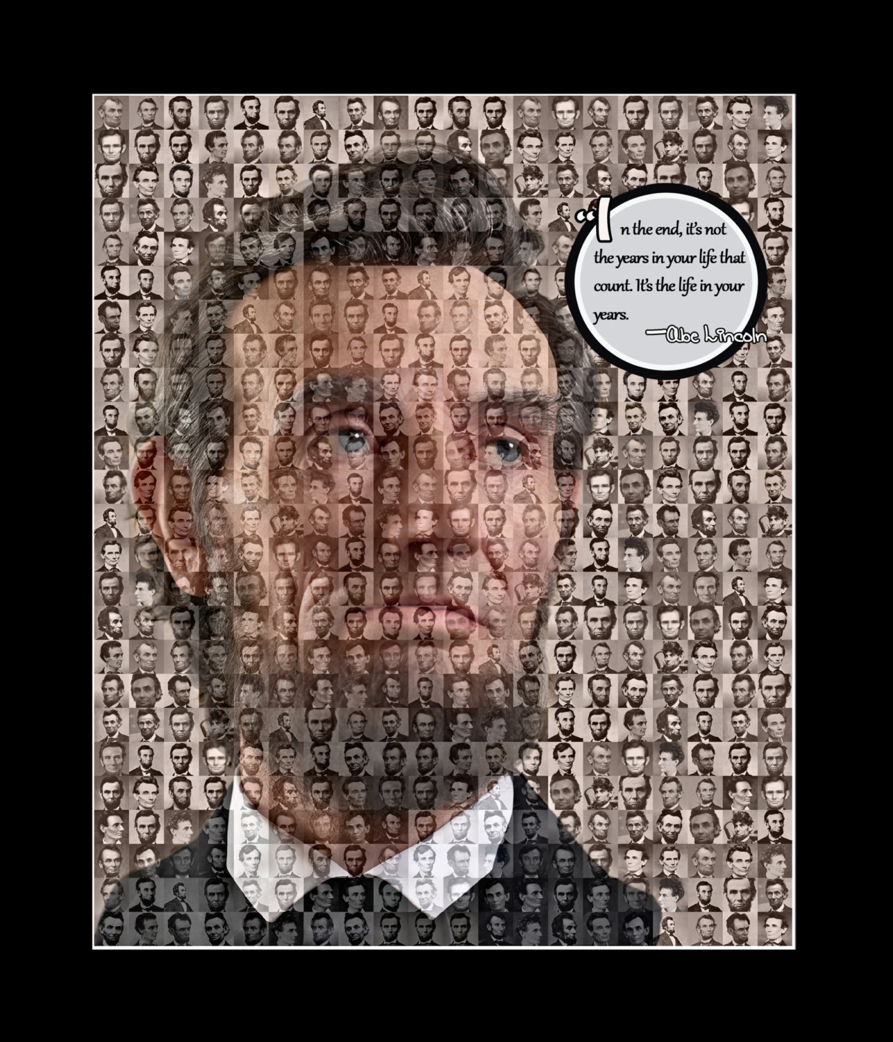 Abraham Lincoln US President Mosaic Print Art Designed using over 50 images of A