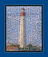 Lighthouse (Cape May) Mosaic Print Art Designed Using Over 200 Lighthous... - $25.00