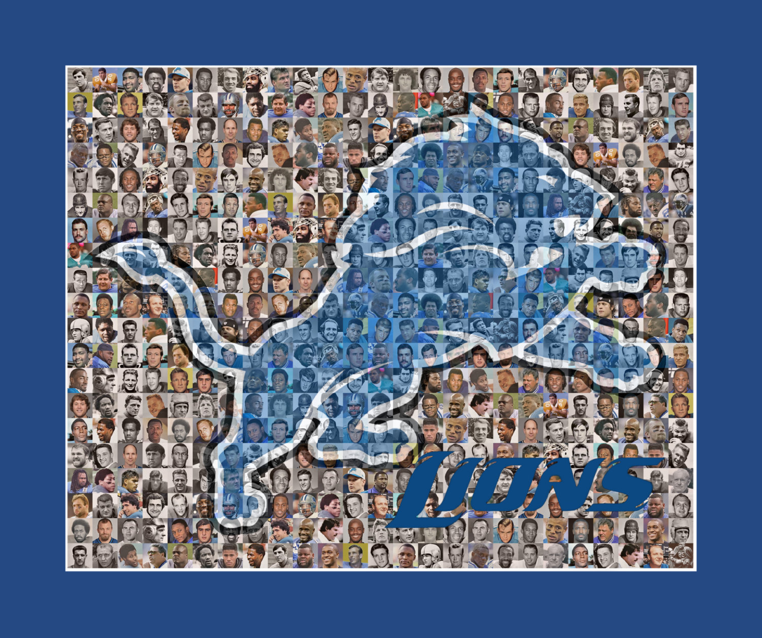 Detroit Lions Mosaic Print Art Designed Using over 100 of the Greatest Lions Pla