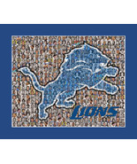 Detroit Lions Mosaic Print Art Designed Using over 100 of the Greatest L... - $40.00+