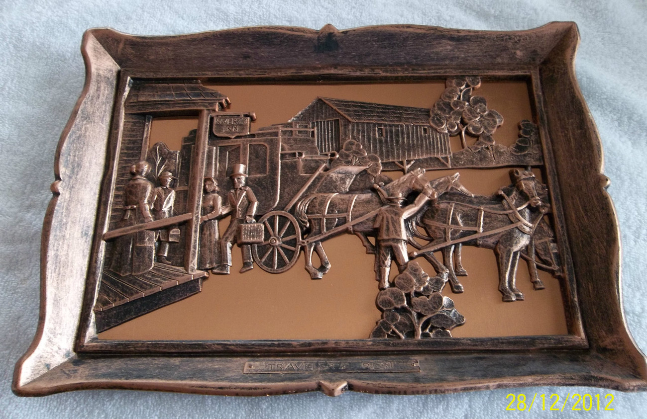 Vintage Coppercraft Wall Plaque Picture Travellers' Rest