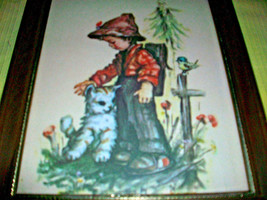 HUMMEL GLASS WOOD FRAMED PICTURE WALL HANGING HOME DECOR W. GERMANY COLL... - $10.00