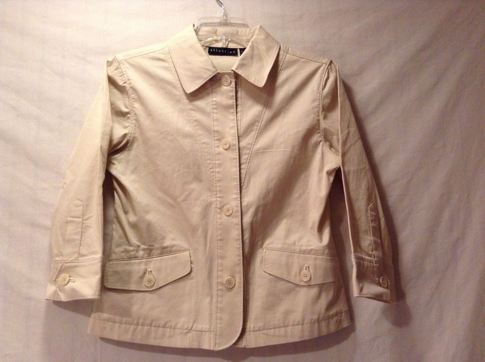 Great Condition Attention Size 4 Cotton Blend Button Up Jacket 2 Pockets