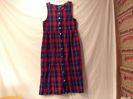 Great Condition J. G. Hook Petites Red Green Blue Yellow Plaid Dress Buttoned
