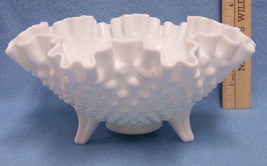 Vintage Fenton Milk Glass Hobnail Ruffled Edge Dish Bowl on 3 Feet - $17.81
