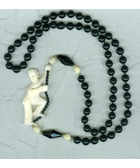 Onyx Resin Carved Oriental Figure hand Knotted Necklace Christmas Gift - $40.00