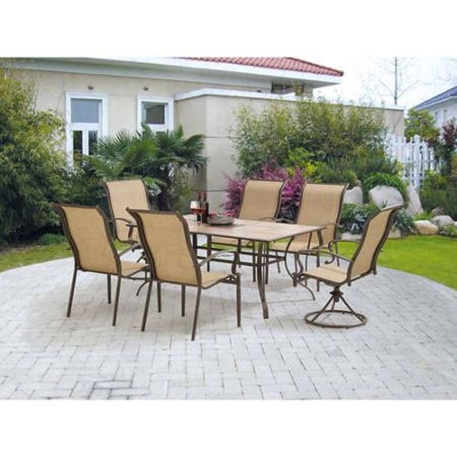 Mainstays york 7 piece patio garden furniture dining set for Outdoor furniture 7 piece