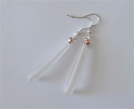 Earrings Crystal Frost beach sea glass Womens dangle earrings Handmade j... - $5.00