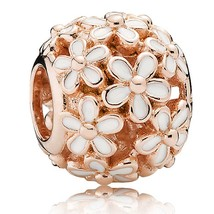 Rose Gold Plated Darling Daisy Meadow Charm Bead For European Bracelet Q... - €17,81 EUR