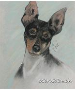 Toy Fox Terrier Dog Art Pastel Solomon - $79.00