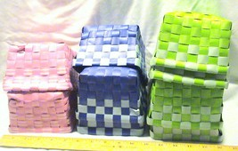 Lot of 9 Colorful Vinyl Woven Baskets For Cente... - $17.95