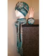 Blue & Black Mix Handmade Crochet Hat, Scarf & ... - $48.00