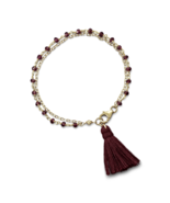 Fashion Trending Double Strand Bracelet with Garnet and a Tassel, 14kt/.925 - $55.89