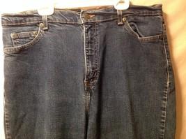 Great Condition Eddie Bauer Cotton Blend Size 16 Tall Blue Jeans Button Zipper image 3