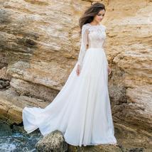 Imported European White/Ivory Lace Long Sleeve Elegant Chiffon Satin Wedding Gow image 4