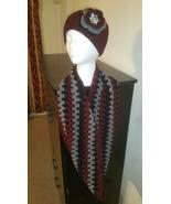 Black, Gray & Burgundy Handmade Headband & Cowl... - $50.00