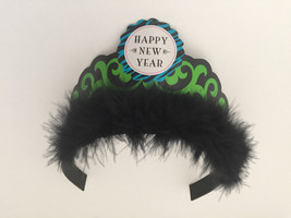 6 Tiares New Year's Eve Black Marabou Feather Holiday Party Favor Paper  - $11.88