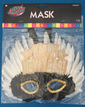 Mask Adult Womens Masquerade HAPPY NEW YEAR! black white feathers. - $11.88