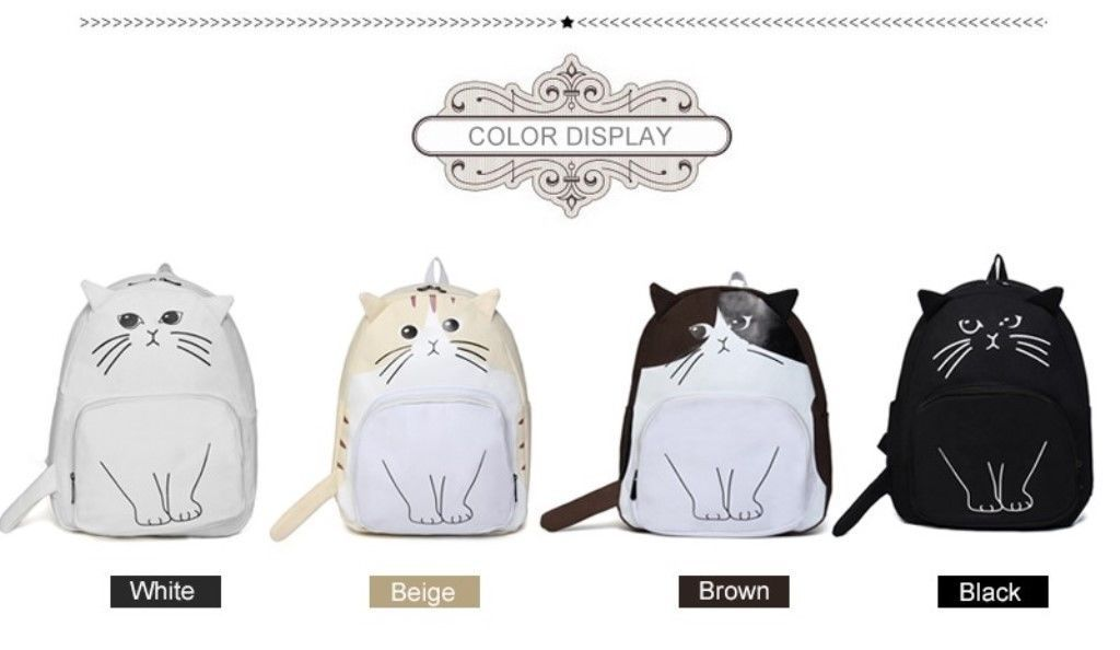 Lovely Cat Printing Backpack Women Canvas School Bag Girls Teenagers Stylish New