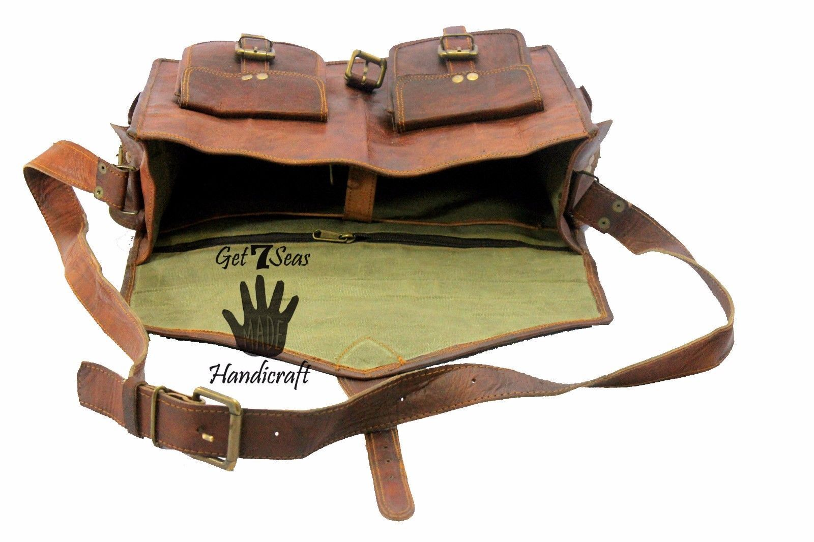 Vintage Leather MessengerBrown Goat Real Laptop Satchel Bag Genuine MENS BAG EDH
