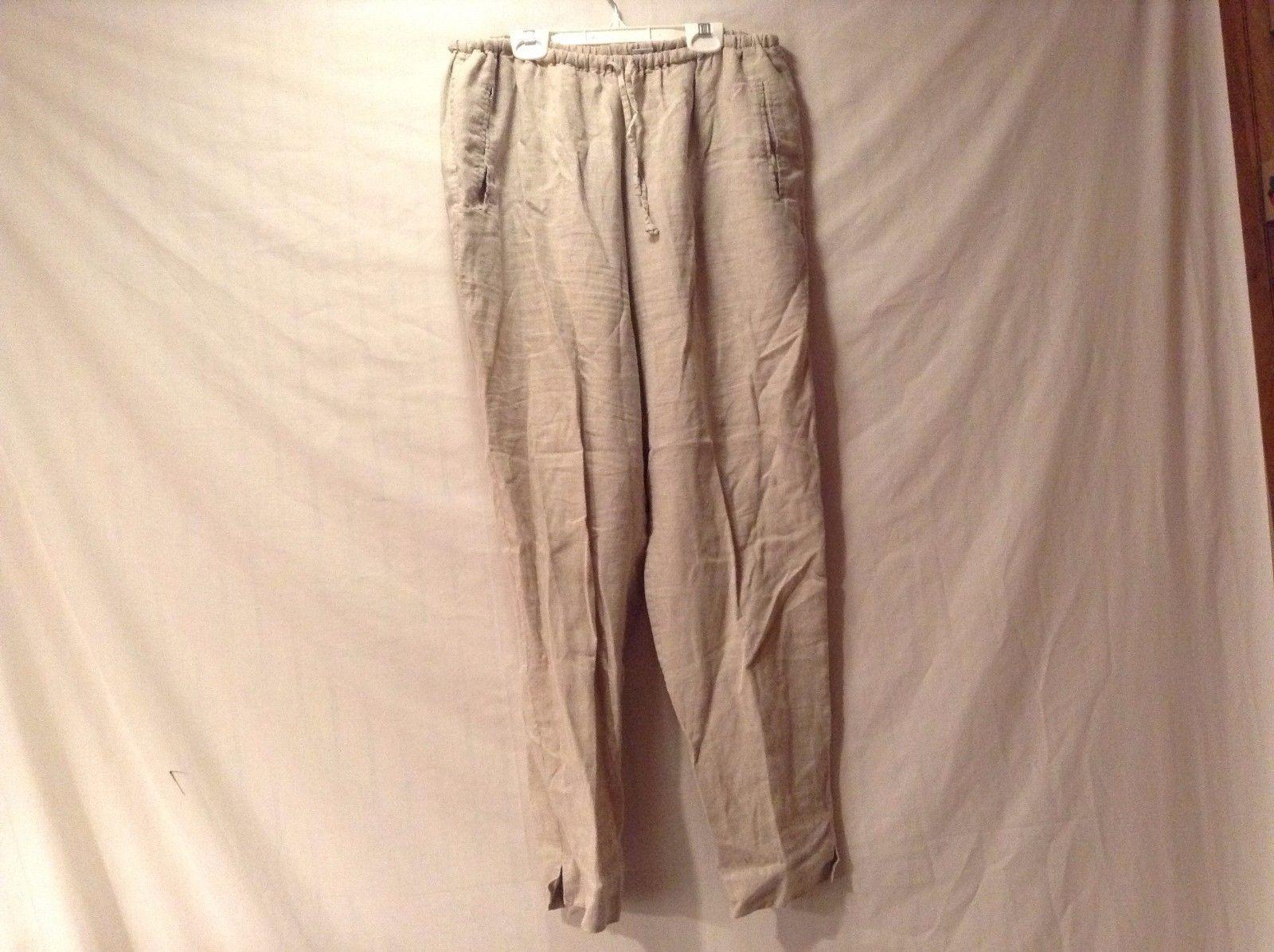Great Condition DKNY Jeans Large 100% Linen Elastic Waist Beige Pants 2 Pockets