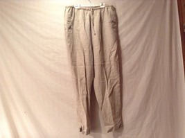 Great Condition DKNY Jeans Large 100% Linen Elastic Waist Beige Pants 2 Pockets