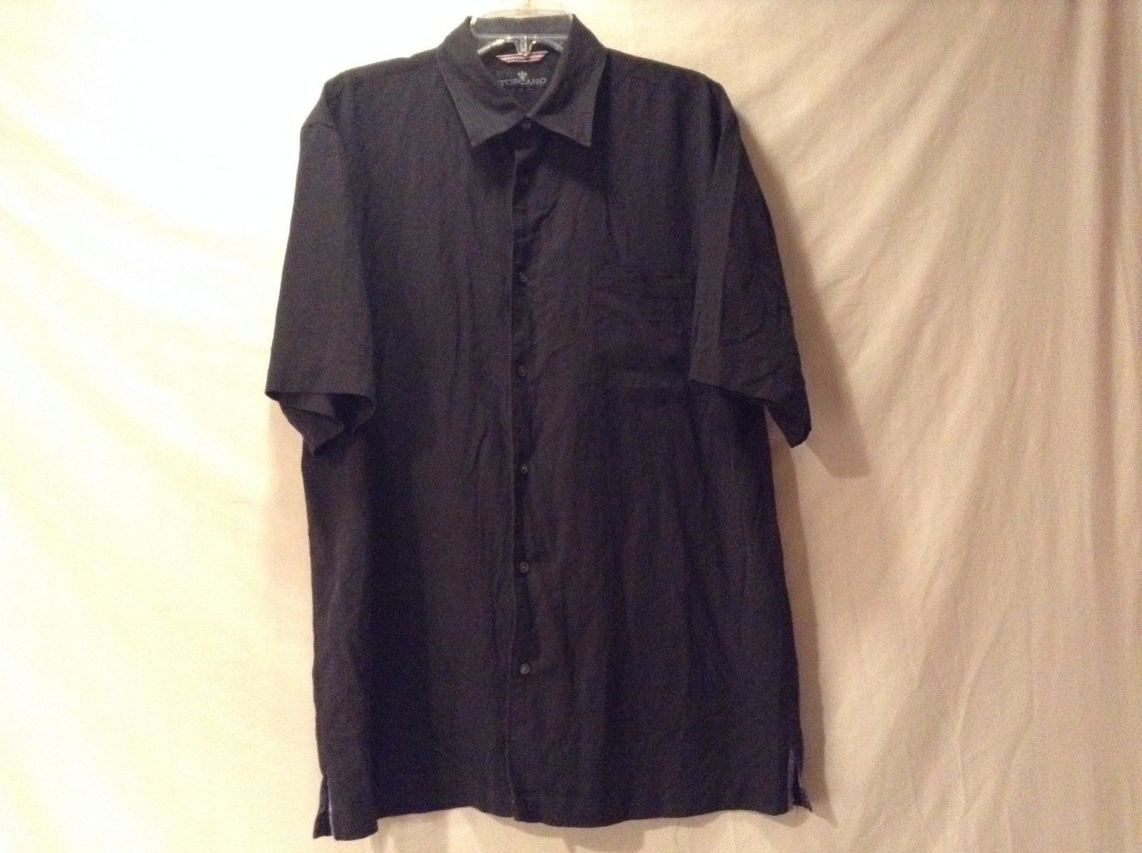 Great Condition Toscano Black Button Up 1 Pocket Vertical Strip Shirt