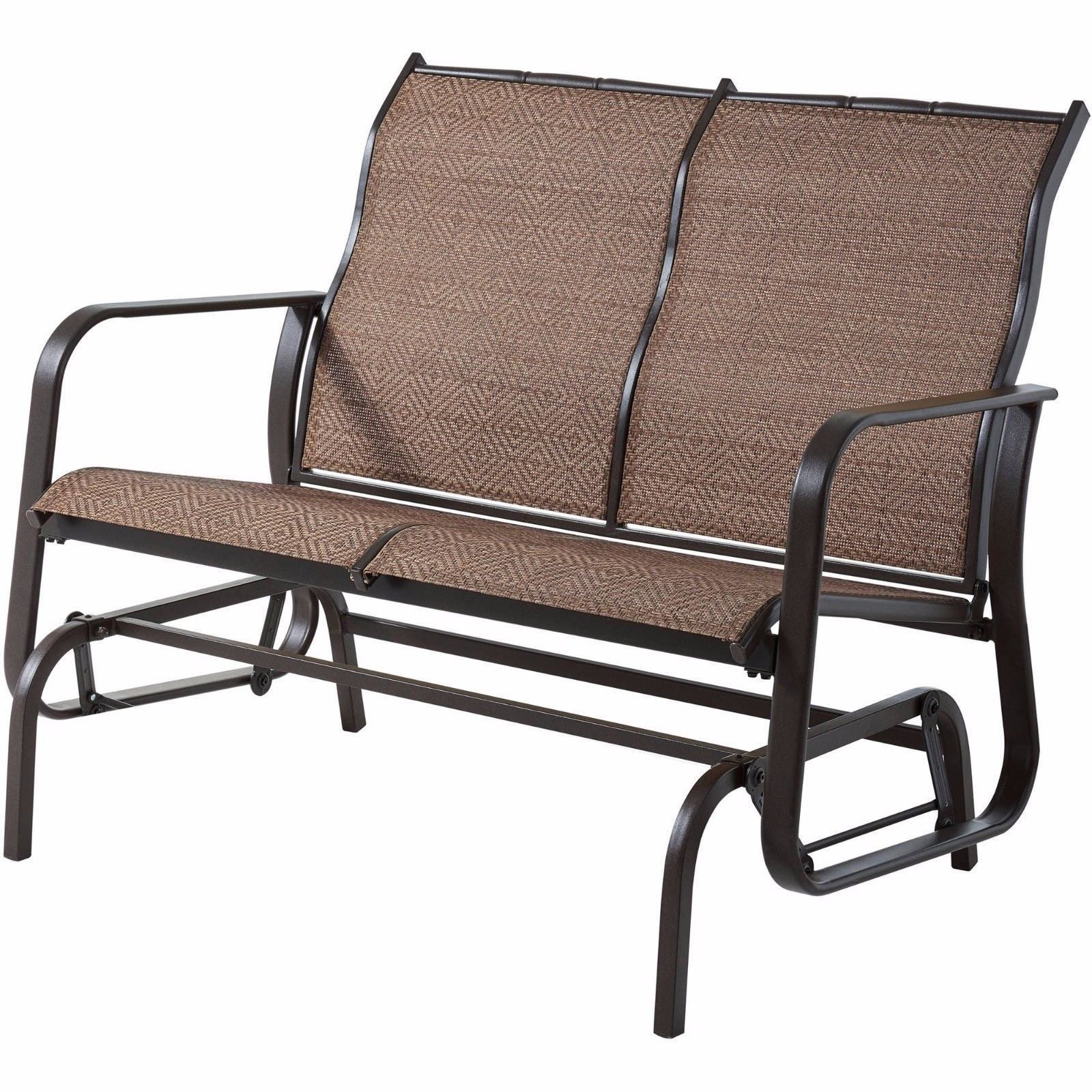 Outdoor Patio Loveseat Glider Brown 2 Seat Sling Furniture Pool Patio Garden Furniture Sets