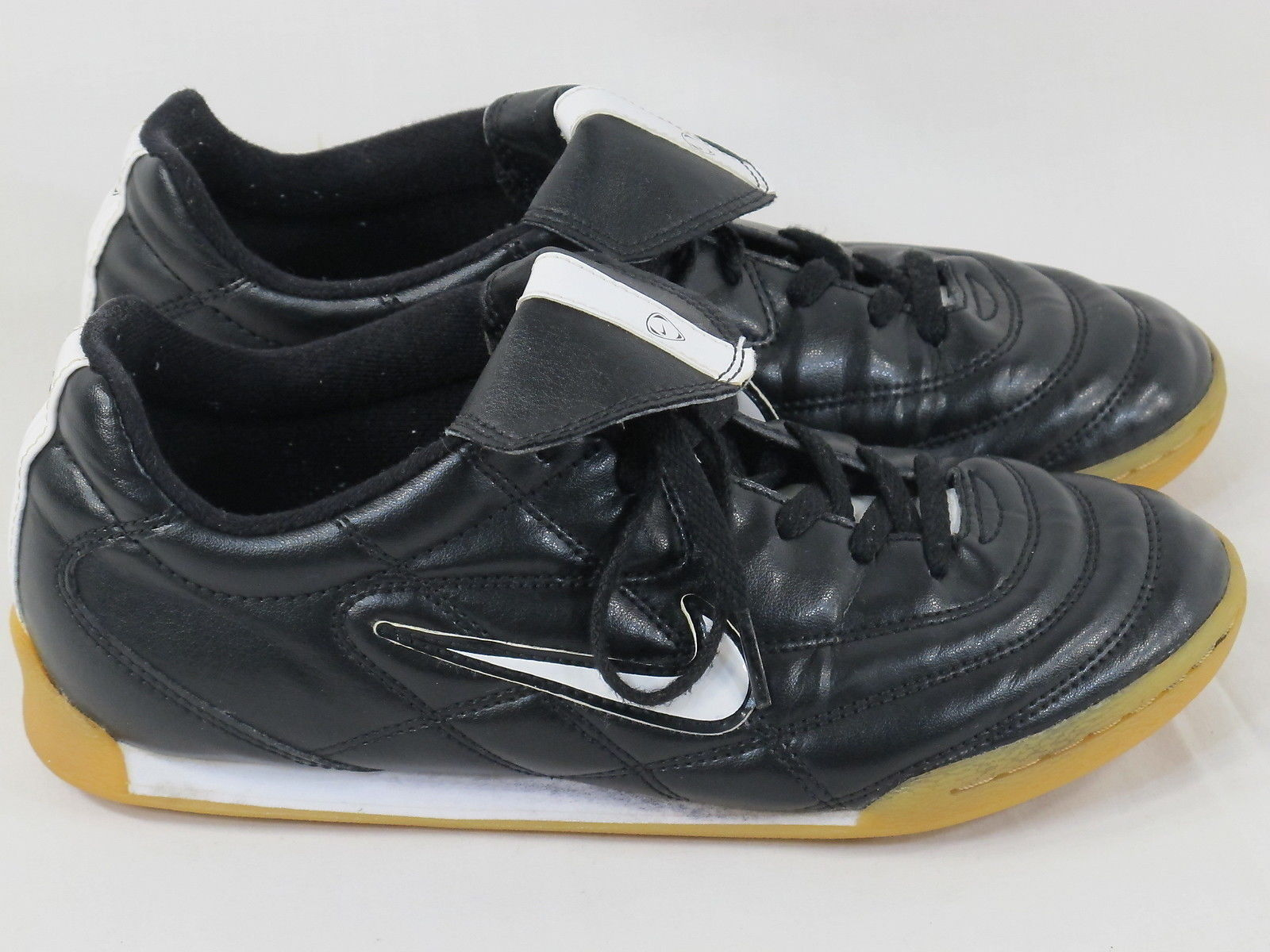 b8bf29471 S l1600. S l1600. Previous. Nike Tiempo 750 Black & White Leather Indoor  Soccer Cleats Boy's Size ...