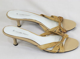 Etienne Aigner Taupe Leather Snake Print Open Toe Mule Heels 8.5 M US Excellent - $14.85