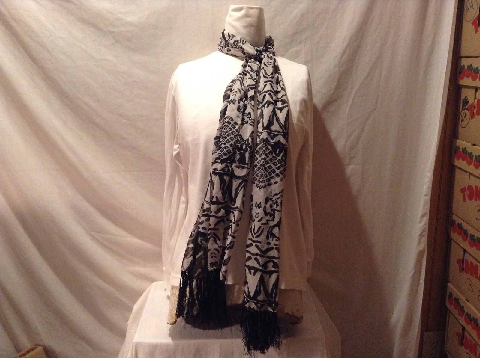 Great Condition Sheer Black White Scarf Multiple Patterns Black String Fringe