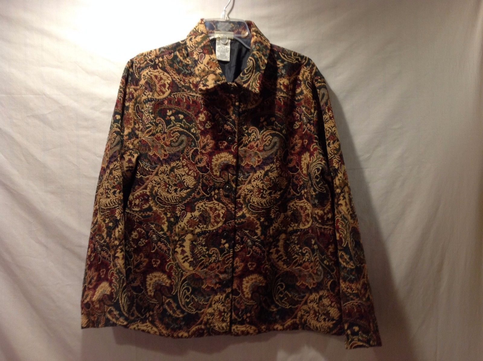 Great Condition White Stag Decorative Tapestry Sweet Tea Blazer Jacket Large