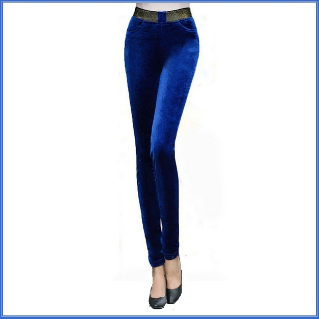 Sapphire Blue Stretch Velvet High Waist Front Pockets Tight Velour Legging Pants