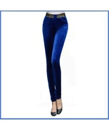Sapphire Blue Stretch Velvet High Waist Front Pockets Tight Velour Leggi... - $49.95