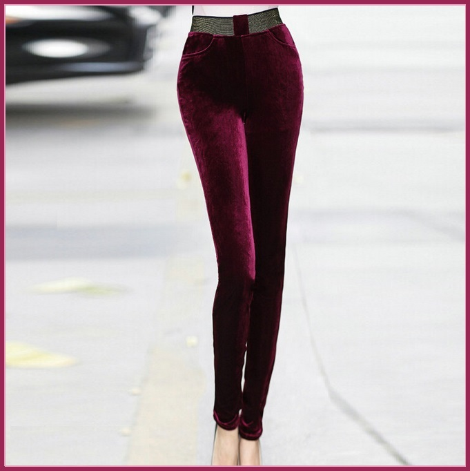 Red Wine Stretch Velvet High Waist Front Pockets Tight Velour Legging Pants