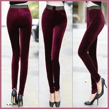 Red Wine Stretch Velvet High Waist Front Pockets Tight Velour Legging Pants image 2