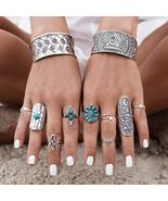 Bohemian Turquoise 9 Piece Ring Set - $17.00