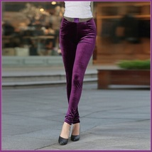 Purple Stretch Velvet High Waist Front Pockets Tight Velour Legging Pants image 1