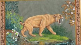 Saber Toothed Cat Tiger Painting Handmade Indian Pre Historic Wild Anima... - $104.99