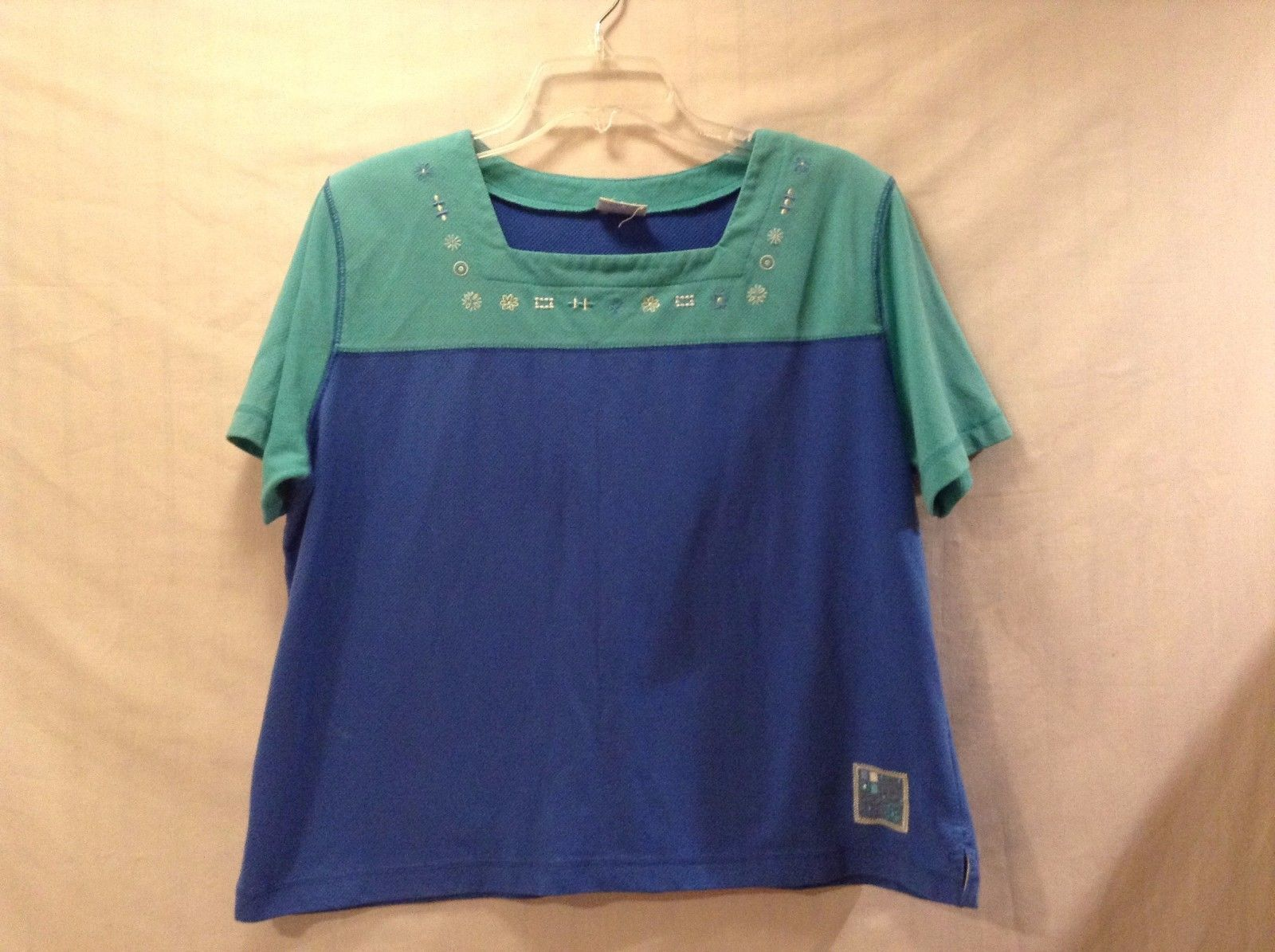Good Condition Cyan Soft Blue Short Sleeved Tee Shirt Koret Francisca